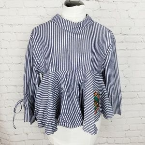 Zara tRafaluc|Striped Peplum Tiger Patch Blouse